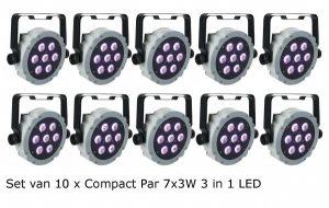 10x Compact LED Par 7x 3W 3 in 1 RGB