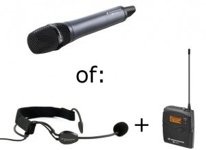 Extra draadloze microfoon toespraakset op accu of beamerset
